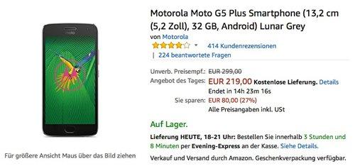 Motorola Moto G5 Plus Smartphone (13,2 cm (5,2 Zoll), 32 GB, Android) Lunar Grey - jetzt 6% billiger
