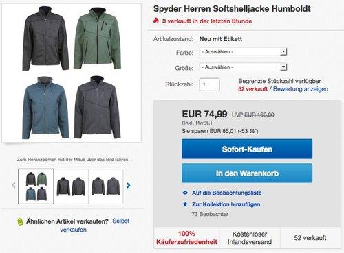 Spyder Herren Softshelljacke Humboldt - jetzt 17% billiger