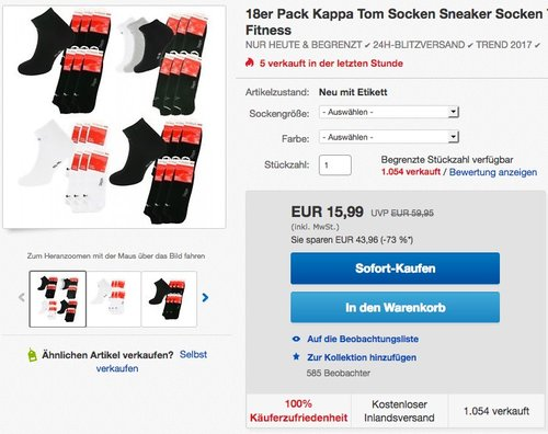 18er Pack Kappa Tom Socken  - jetzt 43% billiger