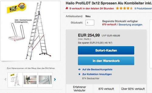 Hailo ProfiLOT 3x12 Sprossen Alu Kombileiter inkl. Einhängetritt Leiter - jetzt 10% billiger