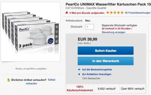 PearlCo UNIMAX Wasserfilter Kartuschen Pack 15 kompatibel mit BRITA Maxtra - jetzt 11% billiger