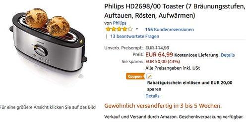 Philips HD2698/00 Toaster - jetzt 31% billiger