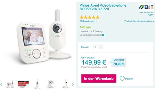 Philips Avent SCD630/26 Video Babyphone, 3.5 zoll - jetzt 6% billiger