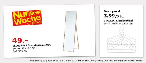 IKEA IKORNNES Standspiegel, 52x167 cm - jetzt 51% billiger