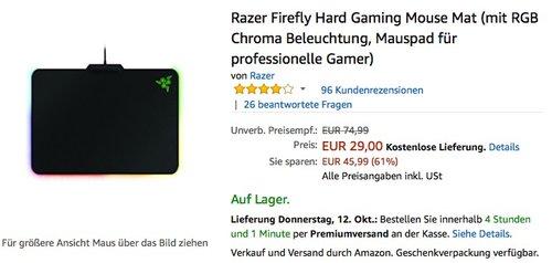 Razer Firefly Mauspad Hard Gaming Mouse Mat - jetzt 46% billiger