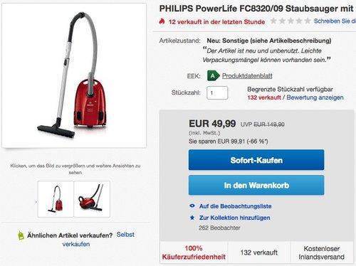 PHILIPS PowerLife FC8320/09 Staubsauger mit Beutel 750W - jetzt 40% billiger