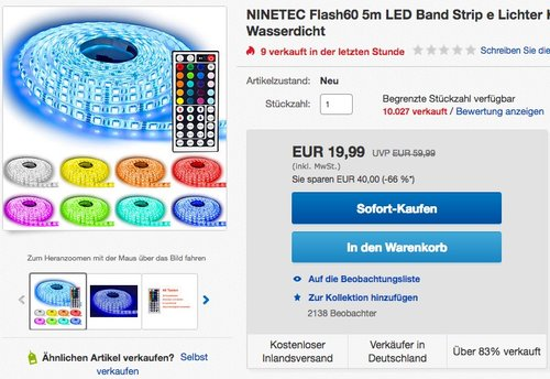 NINETEC Flash60 5m LED Band Strip - jetzt 29% billiger