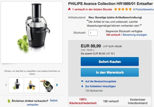 PHILIPS Avance Collection HR1869/01 Entsafter 900W - jetzt 24% billiger