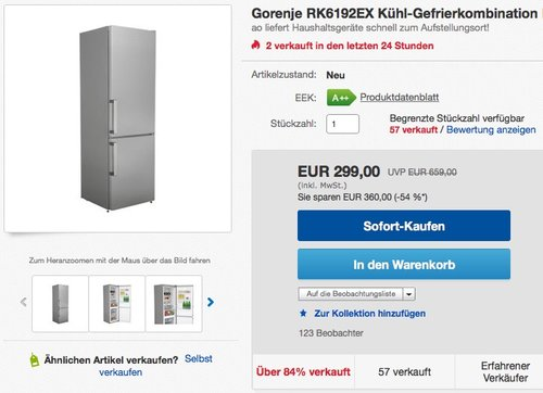 Gorenje RK 6192 EX Kühl-Gefrier-Kombination - jetzt 14% billiger