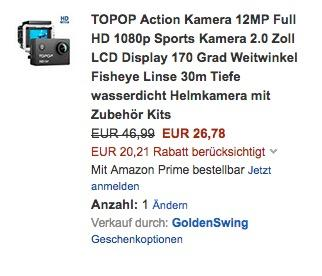 TOPOP Action Kamera 12MP Full HD 1080p  - jetzt 43% billiger