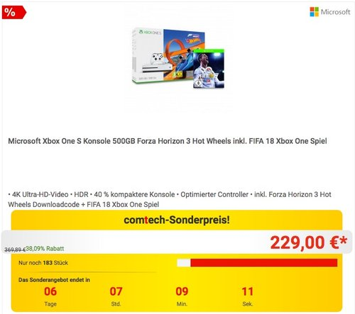 Xbox One S 500GB Konsole - Forza Horizon 3 Hot Wheels Bundle + FIFA 18 - jetzt 8% billiger