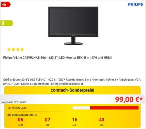 Philips 243V5LHAB 23,6 Zoll Monitor - jetzt 17% billiger