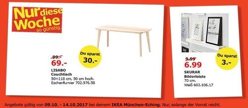 IKEA LISABO Couchtisch, 50x118 cm, 50 cm hoch. Eichenfurnier - jetzt 30% billiger
