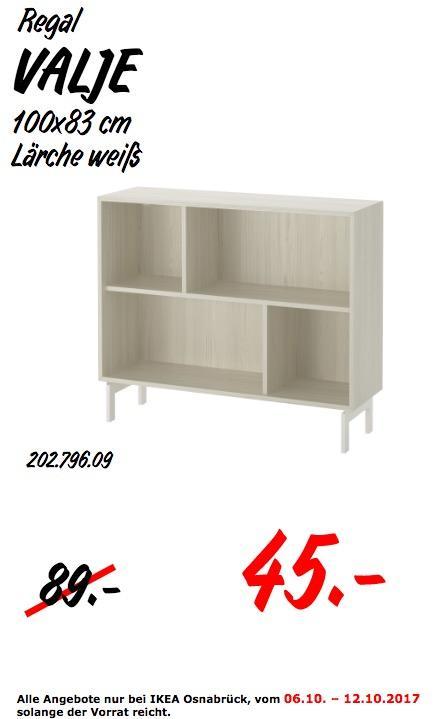 IKEA VALJE Regal, 100x83 cm, Lärche weiß - jetzt 49% billiger