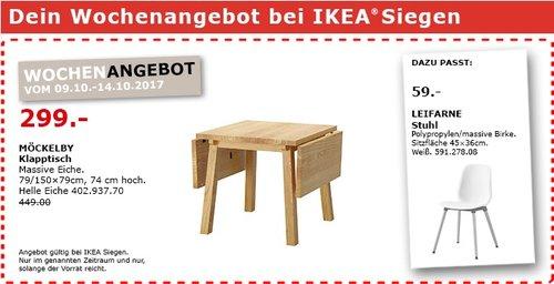 IKEA MÖCKELBY Klapptisch, 79/150x79 cm, 74 cm hoch, massive Eiche - jetzt 33% billiger