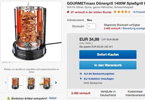 GOURMETmaxx Dönergrill  - jetzt 30% billiger
