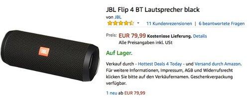 JBL Flip 4 BT Lautsprecher - jetzt 9% billiger