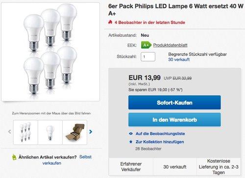 Philips LED Lampe ersetzt 40W, EEK A+, E27, warmweiß (2700 Kelvin), 470 Lumen, matt, Sechserpack - jetzt 43% billiger