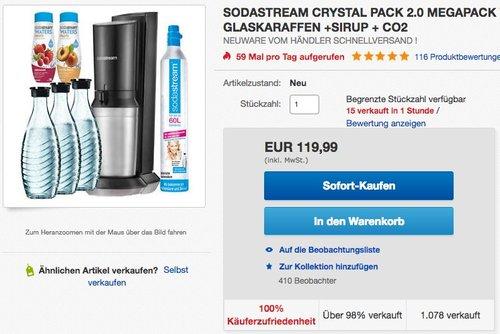 SodaStream CRYSTAL 2.0 Glaskaraffen Wassersprudler - jetzt 4% billiger