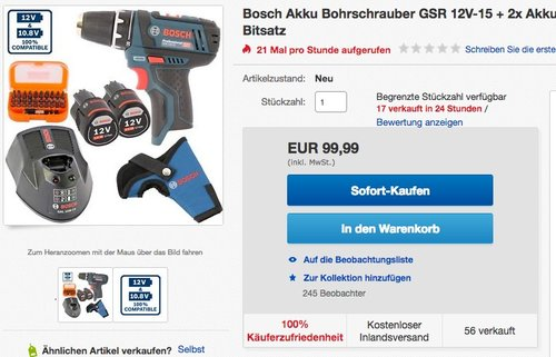 BOSCH Akku Bohrschrauber GSR 12V-15 + 2 Akkus 2,0 Ah + Ladegerät - jetzt 5% billiger