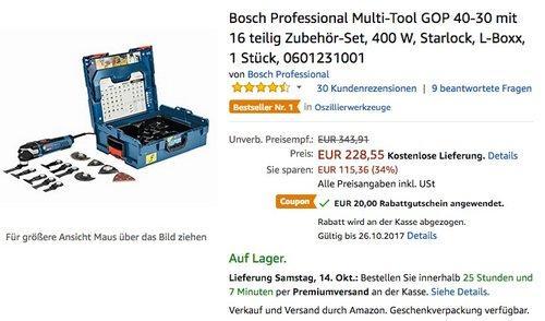 Bosch Professional Multi-Tool GOP 40-30 mit 16 teilig Zubehör-Set - jetzt 6% billiger