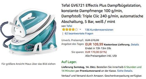 Tefal GV6721 Effectis Plus Dampfbügelstation - jetzt 12% billiger