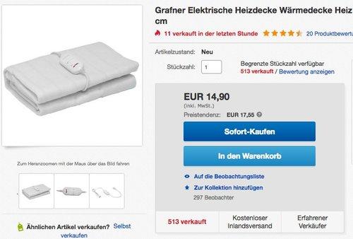 Grafner elektrische Heizdecke 150 x 80 cm - jetzt 25% billiger