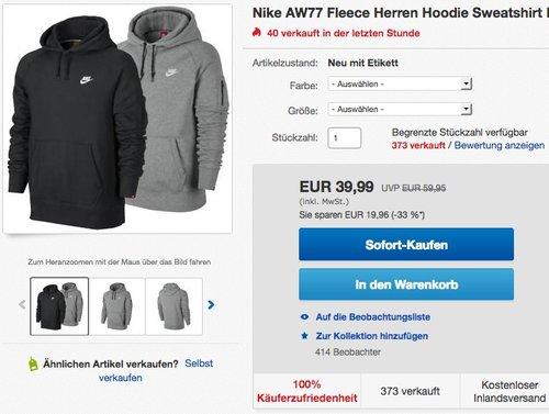 Nike AW77 Fleece Herren Hoodie Sweatshirt - jetzt 16% billiger