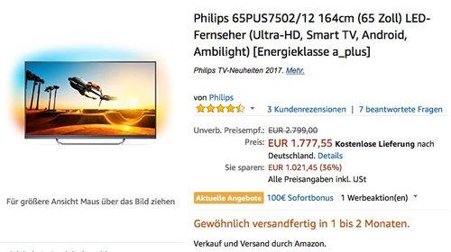 PHILIPS 65PUS7502, UHD, 4K, 65 Zoll, Smart TV, Android, Ambilight - jetzt 12% billiger