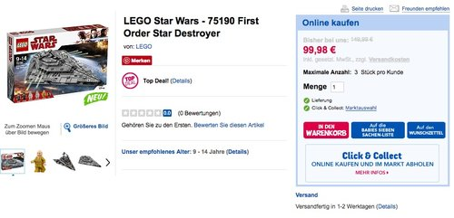 LEGO Star Wars - 75190 First Order Star Destroyer - jetzt 14% billiger