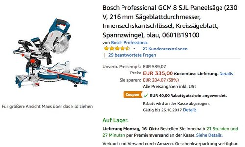 Bosch Professional GCM 8 SJL Paneelsäge - jetzt 12% billiger