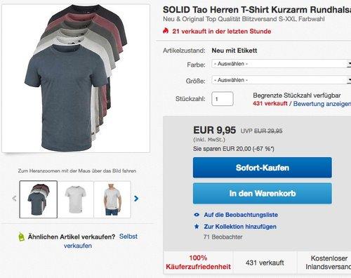 SOLID Tao Herren T-Shirt Kurzarm - jetzt 38% billiger