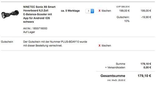 NINETEC Sonic X6 Smart Hoverboard 6,5 Zoll  - jetzt 25% billiger