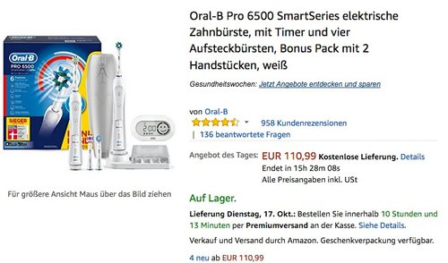 Oral-B Pro 6500 SmartSeries elektrische Zahnbürste - jetzt 15% billiger