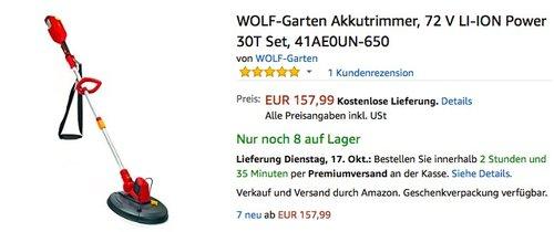 WOLF-Garten Akkutrimmer 72 V LI-ION Power 30T Set - jetzt 31% billiger