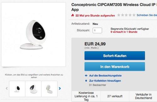 Conceptronic CIPCAM720S Cloud-IP-Kamera - jetzt 32% billiger