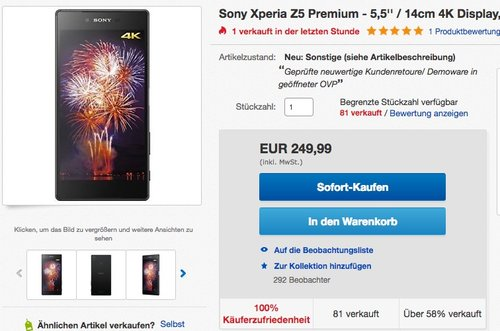 Sony Xperia Z5 Premium Smartphone - jetzt 28% billiger