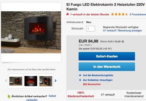 El Fuego Elektrokamin - jetzt 15% billiger