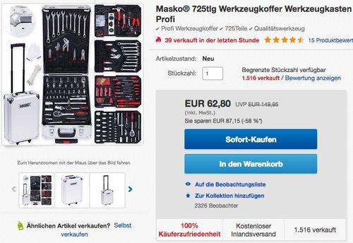 Masko® 725tlg Werkzeugkoffer Werkzeugkasten  - jetzt 21% billiger