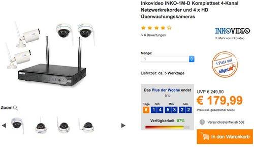 Inkovideo INKO-1M-D Komplettset 4-Kanal Netzwerkrekorder und 4 x HD  - jetzt 28% billiger