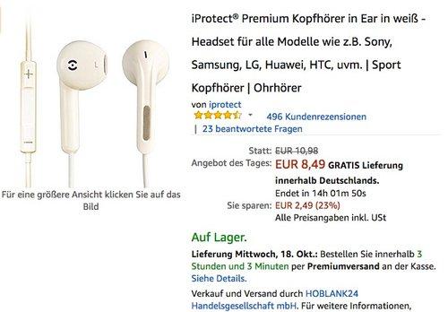 iProtect Premium Kopfhörer in Ear in weiß - Headset für alle Modelle - jetzt 23% billiger