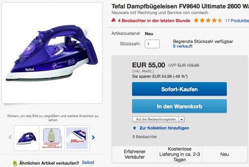 Tefal FV9640 Ultimate Dampfbügeleisen - jetzt 26% billiger