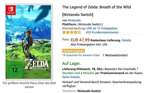 The Legend of Zelda: Breath of the Wild [Nintendo Switch] - jetzt 17% billiger