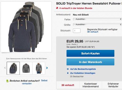 SOLID TripTroyer Herren Sweatshirt  - jetzt 19% billiger