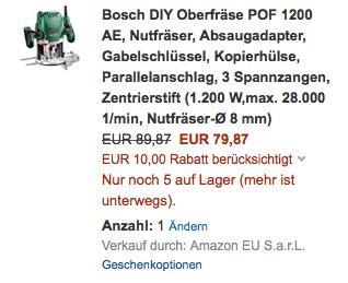 Bosch DIY Oberfräse POF 1200 AE - jetzt 11% billiger
