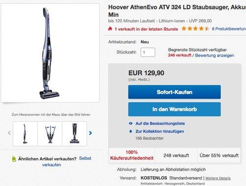 Hoover AthenEvo ATV 324 LD Akkustaubsauger - jetzt 24% billiger