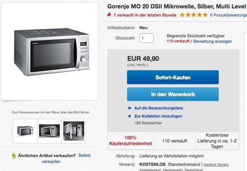 Gorenje MO 20 DSII Mikrowelle - jetzt 33% billiger