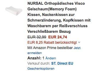 NURSAL Orthopädisches Visco Gelschaum(Memory Foam) Kissen - jetzt 25% billiger