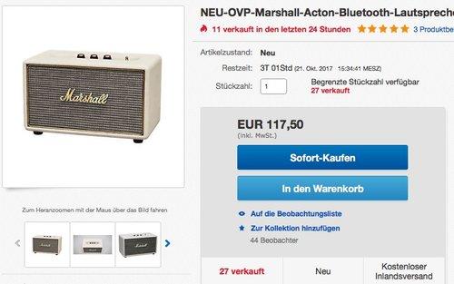 Marshall-Acton-Bluetooth-Lautsprecher-cream - jetzt 19% billiger