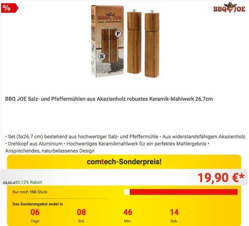 BBQ JOE Salz- und Pfeffermühlen aus Akazienholz robustes Keramik-Mahlwerk 26,7cm - jetzt 33% billiger